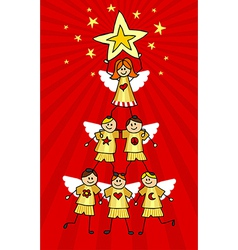 Cherubs Christmas Tree vector image