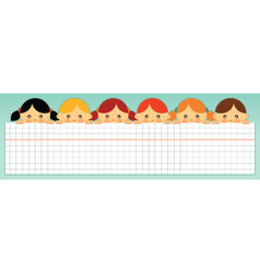 kids holding a blank squared paper sheet vector image