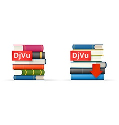 Djvu books stacks icons vector