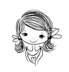 Cute girl smiling sketch for your design vector