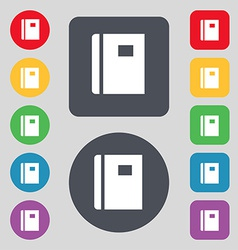 Book icon sign a set of 12 colored buttons flat vector