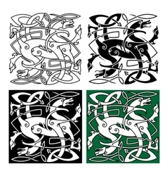 Tribal dragons with twined bodies celtic pattern vector