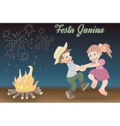 Cute hand drawing of dancing children bonfire and vector