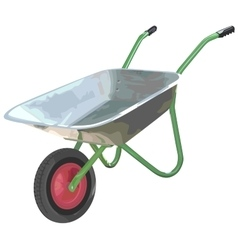 Gardening wheelbarrow on one wheel the empty vector