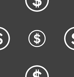 Dollar icon sign seamless pattern on a gray vector