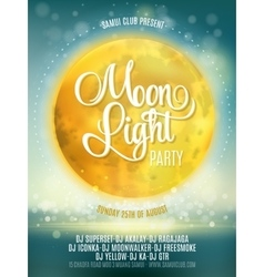 Full moon beach party flyer design eps 10 vector