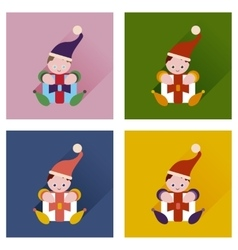 Set of flat icons with long shadow christmas elf vector