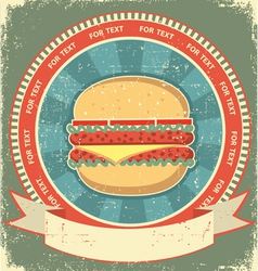 hamburger label vector image