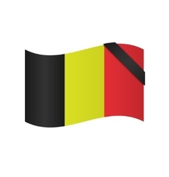 Belgian flag with blac ribbon vector