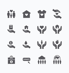 Charity and donation silhouette icons flat line de vector