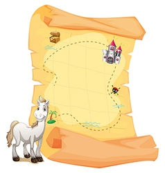 A white horse and a treasure map vector