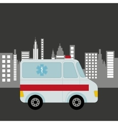 Ambulance vehicle city background design vector