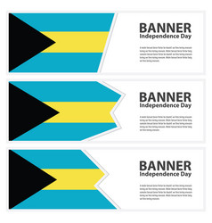 Bahamas flag banners collection independence day vector