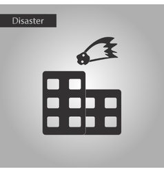 Black and white style icon meteorite falling house vector