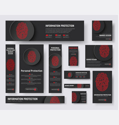 black banners templates with a fingerprint and a vector image