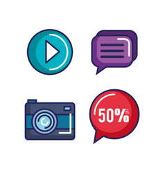 collection icons web shopping online buttons vector image