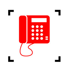 Communication or phone sign red icon vector