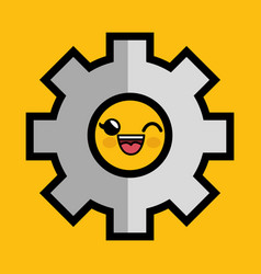 Gear machine character icon vector