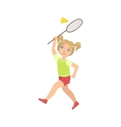 Girl playing badminton with shuttlecock and racket vector