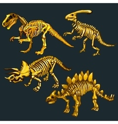 Golden skeletons of four different dinosaurs vector