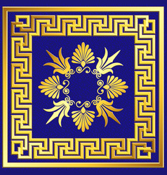 Golden square frame with greek meander pattern vector