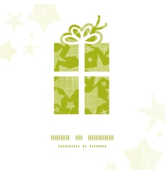 Green gift box with stars texture frame background vector image