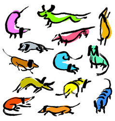 Hand drawn doodle dachshund dogs artistic canine vector
