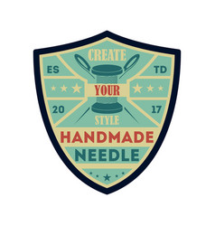 handmade needle vintage isolated label vector image vector image