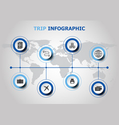 Infographic design with trip icons vector