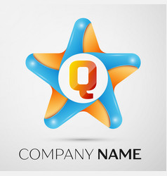 letter q logo symbol in the colorful star on grey vector image vector image