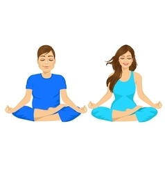 Man and woman sitting in yoga pose vector
