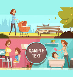 Motherhood 2 retro cartoon banners vector