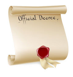 official decree scroll with red wax seal vector image