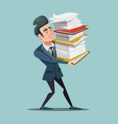 Overworked businessman with huge pile of documents vector