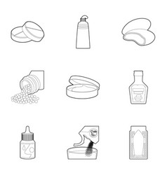 pharmacy icons set outline style vector image