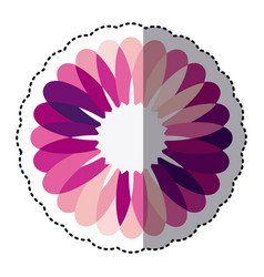 pink flower with petals icon vector image vector image