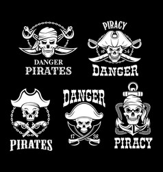 pirates black flags set jolly roger symbol vector image