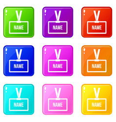 Plastic name badge with neck strap icons 9 set vector
