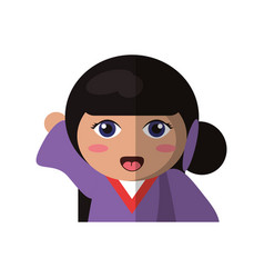 Portrait doll kokeshi geisha girl vector