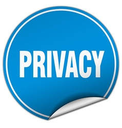 privacy round blue sticker isolated on white vector image vector image