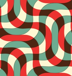 Retro 3D green red and yellow intersecting waves vector image