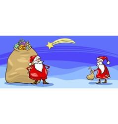Santa Claus and sack cartoon card vector image vector image