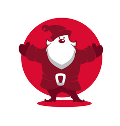 santa claus silhouette for greeting christmas vector image