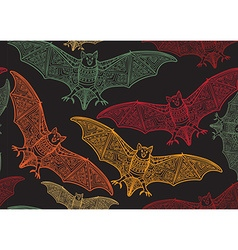 Seamless halloween pattern with bat vector