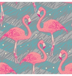 Seamless pattern with flamingo birds vector