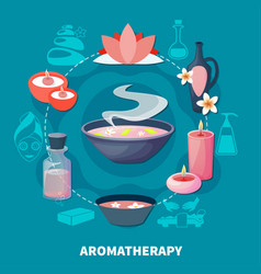 Spa aromatherapy fragrances flat poster vector