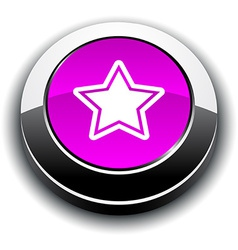 Star 3d round button vector image