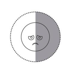 Sticker silhouette emoticon face sad expression vector