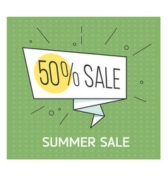 Summer sale banner big discount retro comic vector