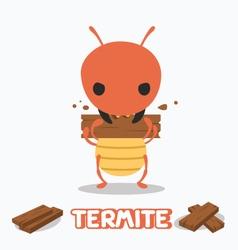 Termite eating wood vector